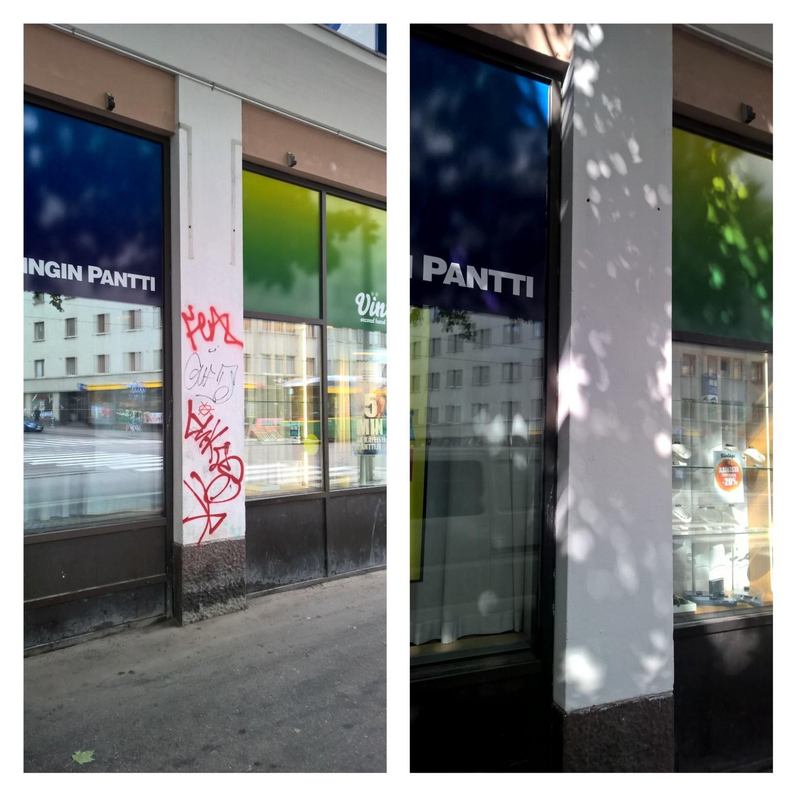 graffitin poisto seinästä pääkaupunkiseudulla espoo vantaa helsinki